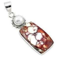 Natural bronze wild horse magnesite pearl 925 silver pendant jewelry m25702