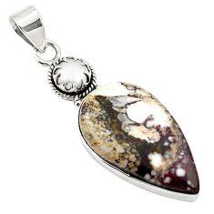 925 silver natural bronze wild horse magnesite white pearl pendant m25704