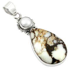 925 silver natural bronze wild horse magnesite white pearl pendant m25711