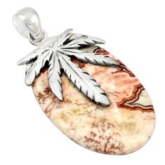 Natural pink rosetta stone jasper 925 sterling silver pendant jewelry m25963