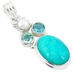 Natural green peruvian amazonite topaz pearl 925 silver pendant m27301