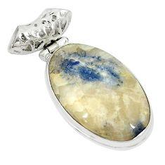 Natural blue dumortierite 925 sterling silver pendant jewelry m27434