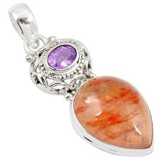 Natural orange blood quartz amethyst 925 sterling silver pendant m27475