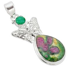 Natural pink ruby in fuchsite 925 silver butterfly pendant jewelry m27485