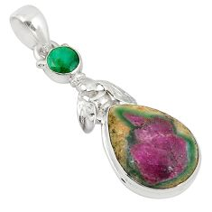 Natural pink ruby in fuchsite emerald 925 silver pendant jewelry m27488