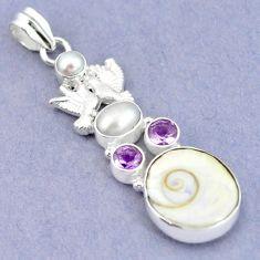 Natural white shiva eye amethyst pearl 925 silver love birds pendant m2782