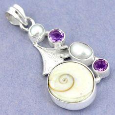 925 sterling silver natural white shiva eye amethyst pearl pendant m2784