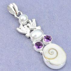Natural white shiva eye amethyst pearl 925 silver love birds pendant m2786