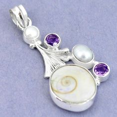 Natural white shiva eye amethyst 925 sterling silver pendant jewelry m2789