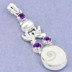Natural white shiva eye amethyst 925 silver love birds pendant jewelry m2792