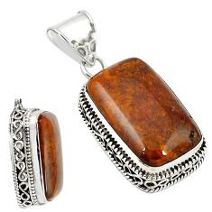 Natural brown vaquilla agate octagan 925 sterling silver pendant jewelry m27951