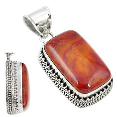 925 sterling silver natural brown vaquilla agate octagan pendant jewelry m27956