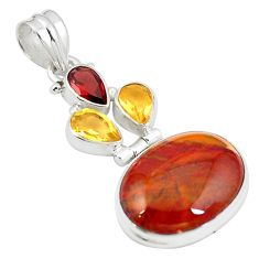 Natural brown vaquilla agate garnet citrine 925 sterling silver pendant m28142