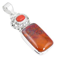 Natural brown vaquilla agate 925 sterling silver pendant jewelry m28173
