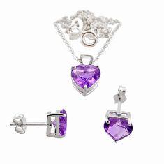 5.00cts 18inch link chain purple amethyst 925 silver earrings pendant chain set