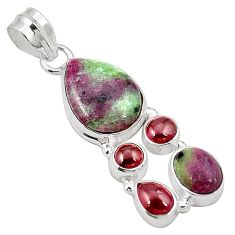 Natural pink ruby zoisite garnet 925 sterling silver pendant jewelry m31058