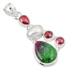 Natural pink ruby zoisite garnet pearl 925 sterling silver pendant m31076