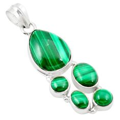 Natural green malachite (pilot's stone) 925 silver pendant jewelry m31093