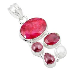 925 sterling silver natural red ruby garnet pearl pendant jewelry m31109