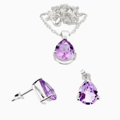 7.00cts 18inch link chain amethyst 925 silver earrings pendant with chain set