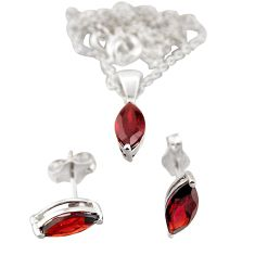 1.50cts 18inch link chain red garnet 925 silver earrings pendant with chain set