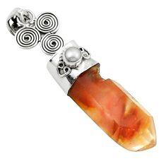 Natural brown angel phantom quartz pearl 925 silver pendant jewelry m33686