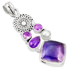 Natural multi color fluorite amethyst pearl 925 sterling silver pendant m34446