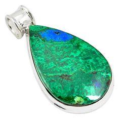Natural green malachite in azurite 925 sterling silver pendant jewelry m34549