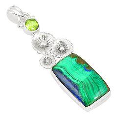 925 sterling silver natural green azurite malachite peridot pendant m34654