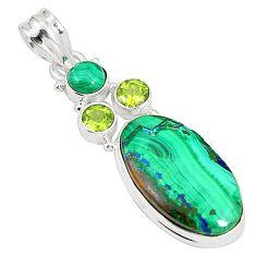 925 silver natural green azurite malachite malachite pendant jewelry m34657