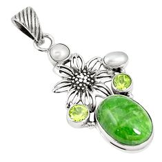 Natural green chrome diopside peridot 925 silver flower pendant m34725