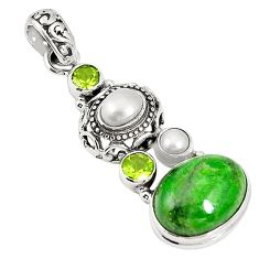 Natural green chrome diopside peridot 925 silver pendant jewelry m34728