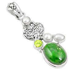 Natural green chrome diopside peridot 925 silver heart pendant m34738