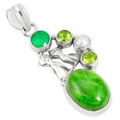 Natural green chrome diopside pearl 925 silver two cats pendant m34751