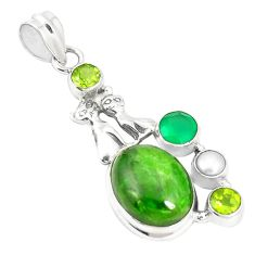 Natural green chrome diopside 925 silver two cats pendant jewelry m34752
