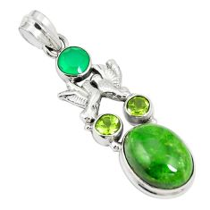 925 silver natural green chrome diopside love birds pendant jewelry m34753