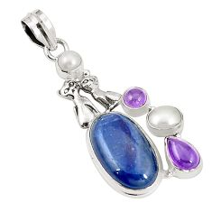925 sterling silver natural blue kyanite amethyst two cats pendant m34974