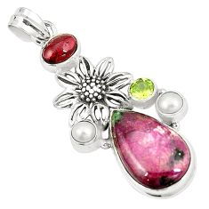 Natural pink ruby zoisite garnet pearl 925 sterling silver pendant m35242