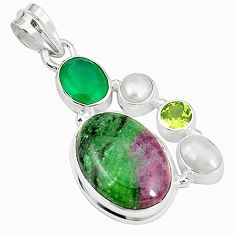 925 sterling silver natural pink ruby zoisite emerald pearl pendant m35244
