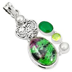 925 sterling silver natural pink ruby zoisite emerald pendant jewelry m35256