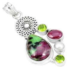 Natural pink ruby zoisite garnet pearl 925 sterling silver pendant m35261