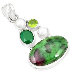 Natural pink ruby zoisite emerald pearl 925 sterling silver pendant m35268