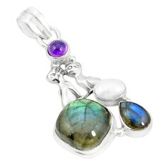 Natural blue labradorite amethyst pearl 925 silver two cats pendant m36607