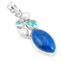 Natural blue shattuckite topaz pearl 925 sterling silver pendant m36682