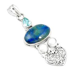 Natural blue shattuckite topaz 925 sterling silver pendant jewelry m36685