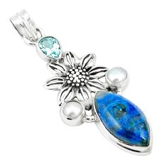 Natural blue shattuckite topaz 925 silver flower pendant jewelry m36691