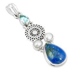 Natural blue shattuckite topaz pearl 925 sterling silver pendant m36694