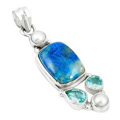 Natural blue shattuckite topaz 925 sterling silver pendant jewelry m36698