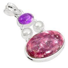 Natural purple lepidolite amethyst pearl 925 sterling silver pendant m36703