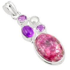Natural purple lepidolite amethyst pearl 925 sterling silver pendant m36706
